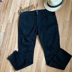 🌸 JUST BLACK Destructed Cropped Skinny Jeans, 31